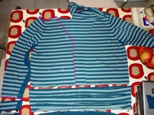 stripey cardigan cutting lines